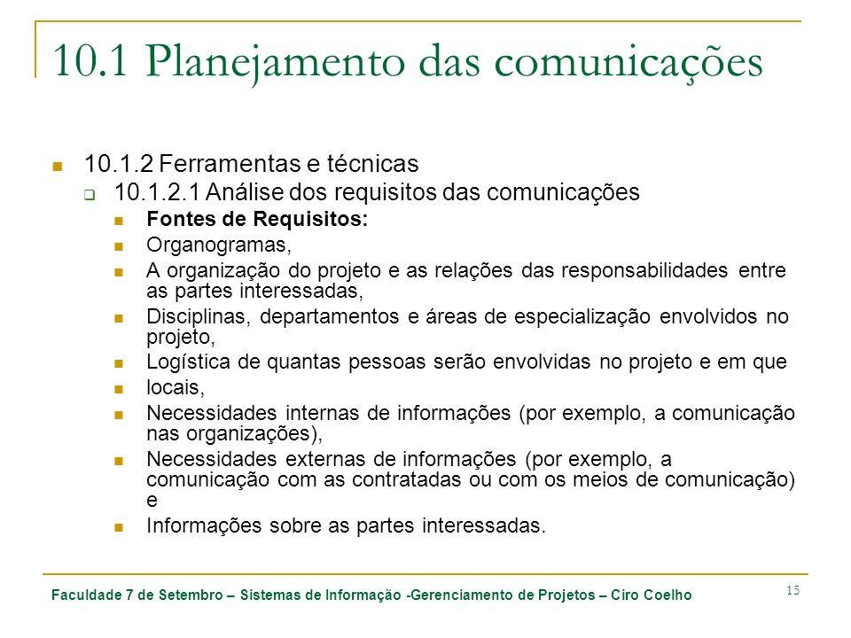 10.1 Planejamento das comunicações