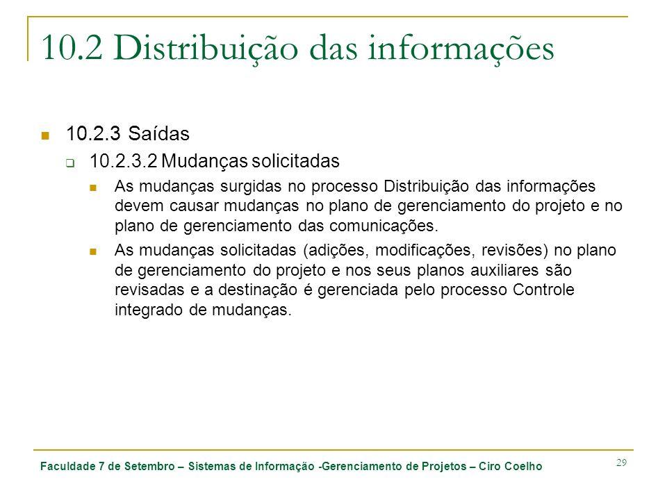 10.2 Distribuição das informações