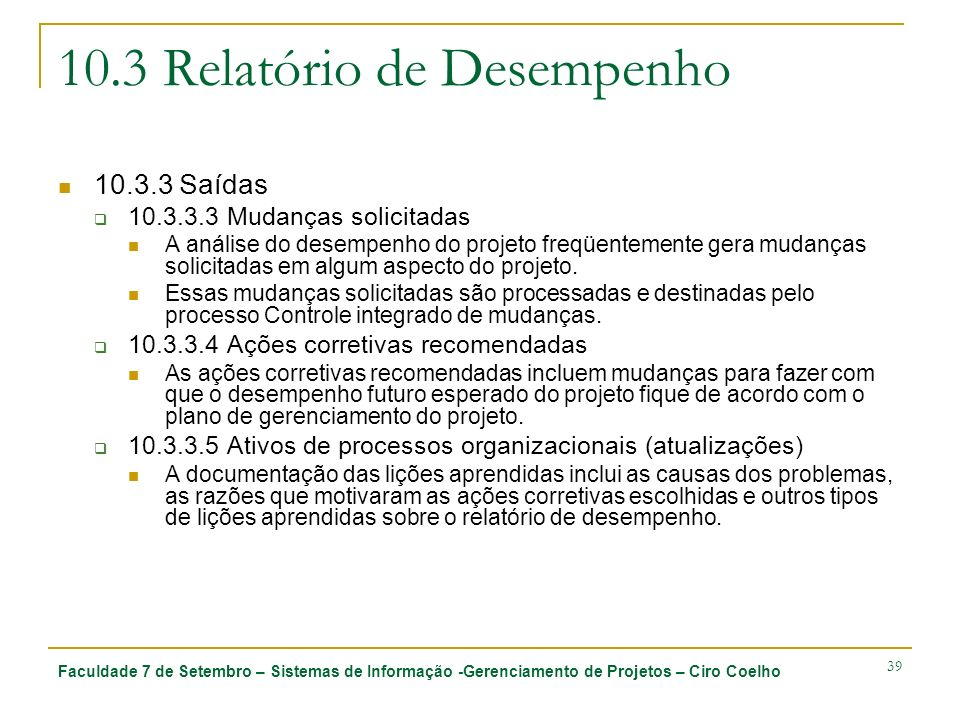 10.3 Relatório de Desempenho