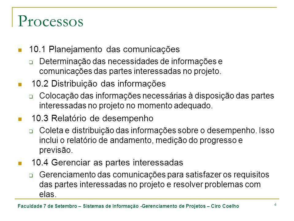 Processos 10.1 Planejamento das comunicações