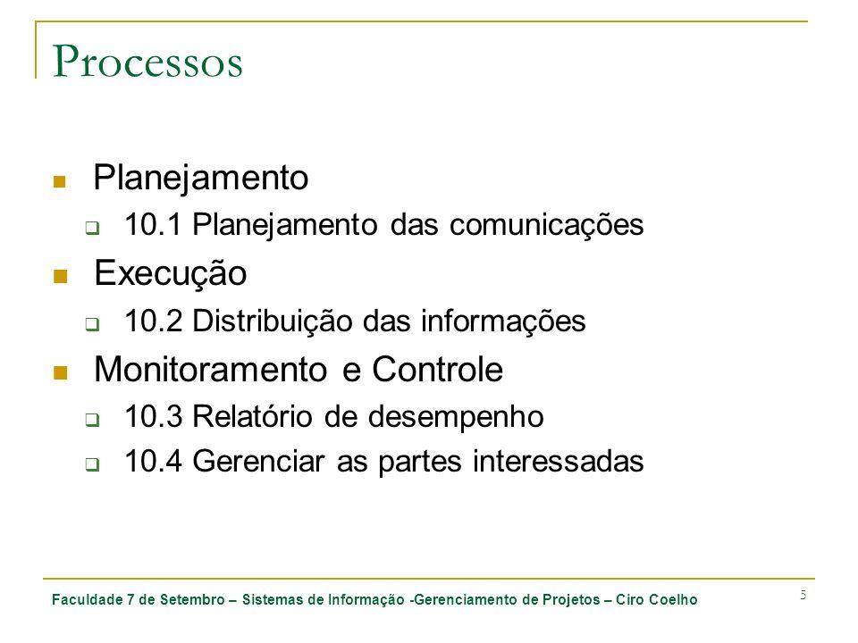 Processos Execução Monitoramento e Controle Planejamento