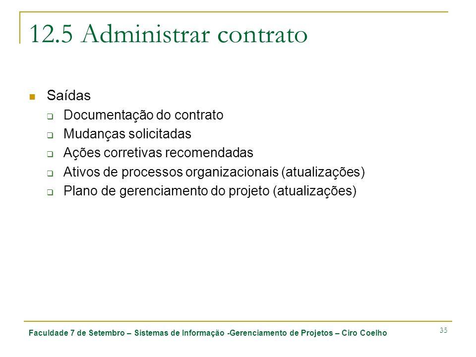 12.5 Administrar contrato Saídas Documentação do contrato