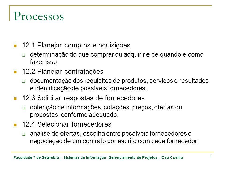 Processos 12.1 Planejar compras e aquisições