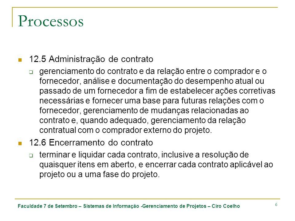 Processos 12.5 Administração de contrato 12.6 Encerramento do contrato