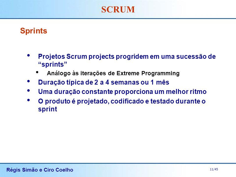 Sprints Projetos Scrum projects progridem em uma sucessão de sprints