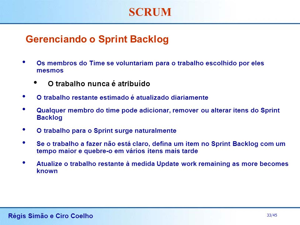 Gerenciando o Sprint Backlog