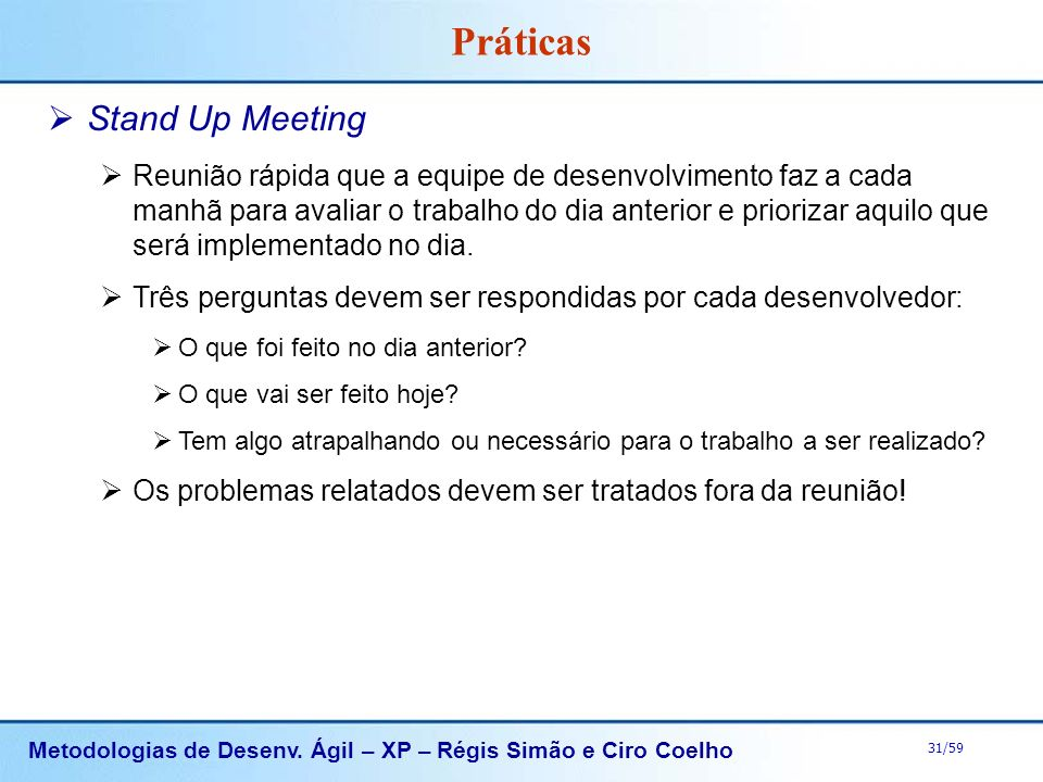 Práticas Stand Up Meeting
