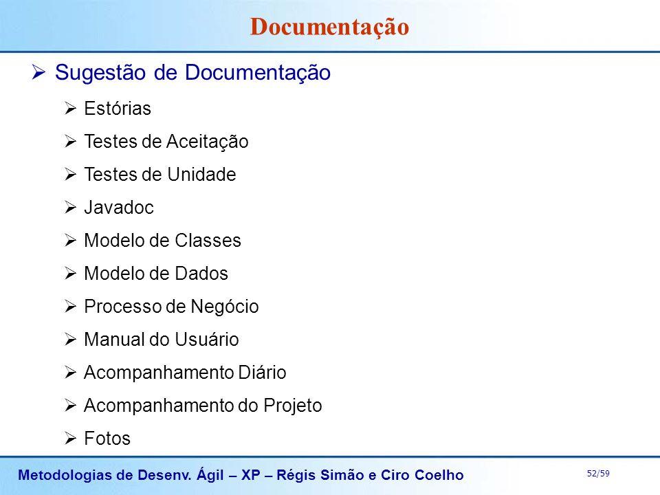 Documentação Sugestão de Documentação Estórias Testes de Aceitação