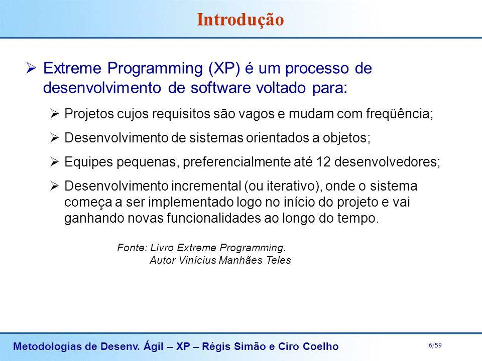 Introdução Extreme Programming (XP) é um processo de desenvolvimento de software voltado para: