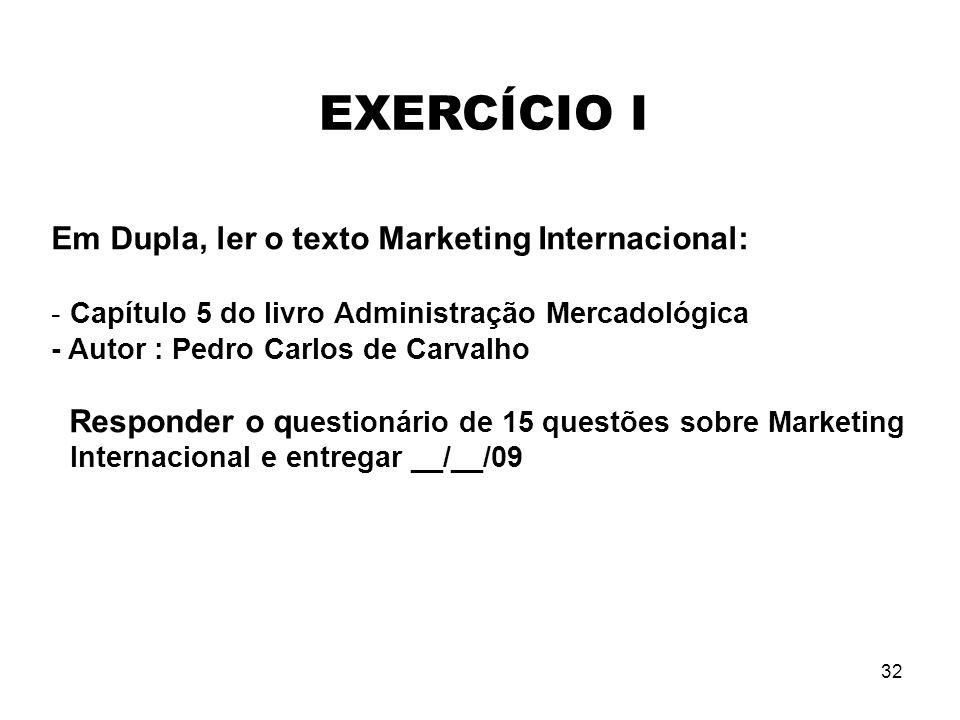 EXERCÍCIO I Em Dupla, ler o texto Marketing Internacional: