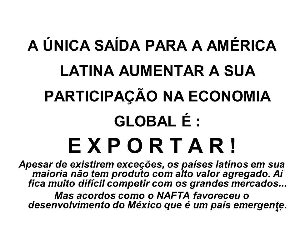 A ÚNICA SAÍDA PARA A AMÉRICA LATINA AUMENTAR A SUA PARTICIPAÇÃO NA ECONOMIA GLOBAL É :