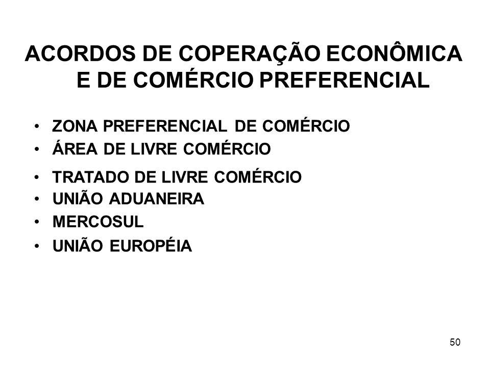 ACORDOS DE COPERAÇÃO ECONÔMICA E DE COMÉRCIO PREFERENCIAL