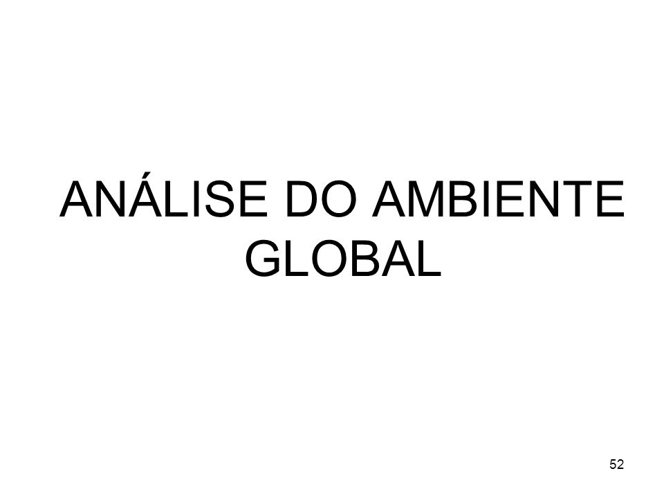 ANÁLISE DO AMBIENTE GLOBAL