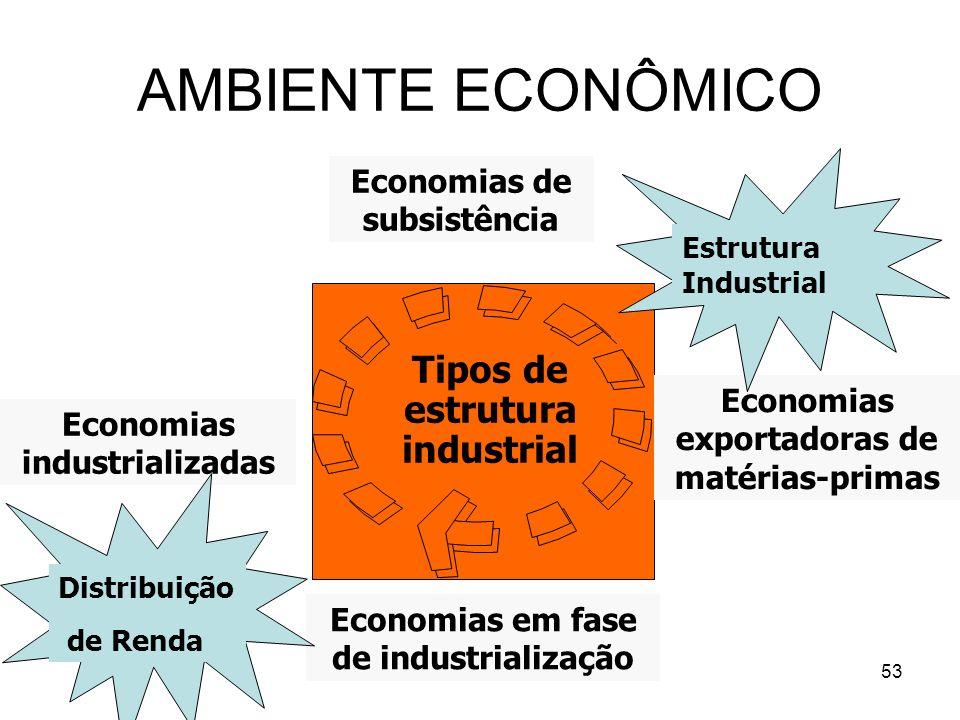 AMBIENTE ECONÔMICO Tipos de estrutura industrial