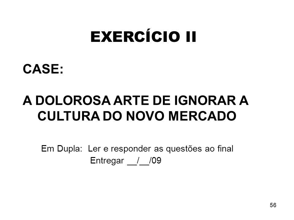 EXERCÍCIO II CASE: A DOLOROSA ARTE DE IGNORAR A CULTURA DO NOVO MERCADO Em Dupla: Ler e responder as questões ao final.