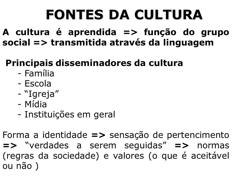 FONTES DA CULTURA A cultura é aprendida => função do grupo social => transmitida através da linguagem.
