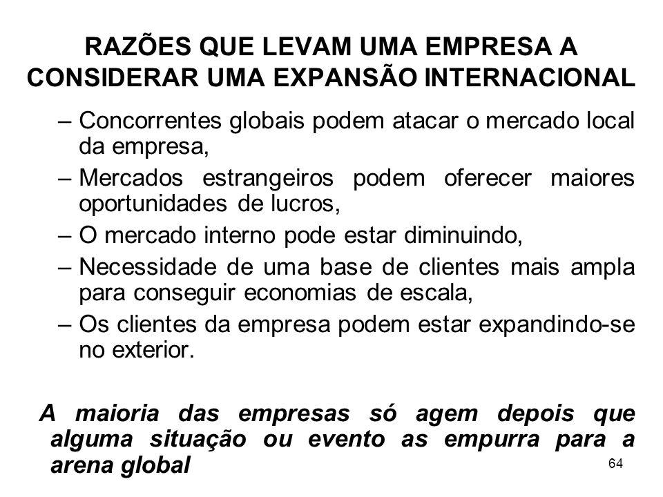 RAZÕES QUE LEVAM UMA EMPRESA A CONSIDERAR UMA EXPANSÃO INTERNACIONAL