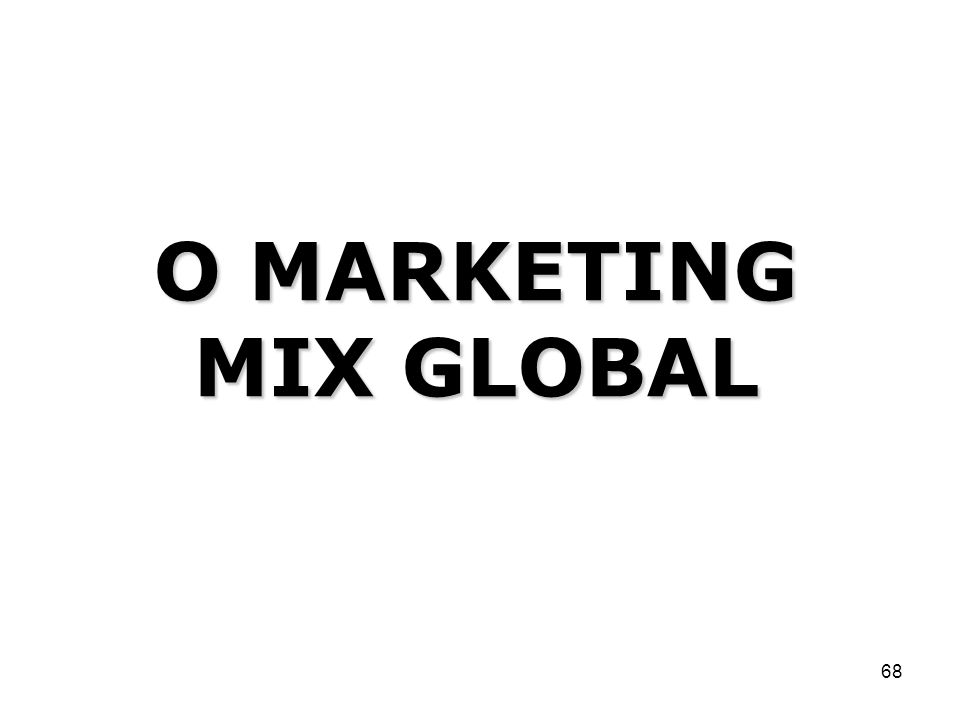 O MARKETING MIX GLOBAL