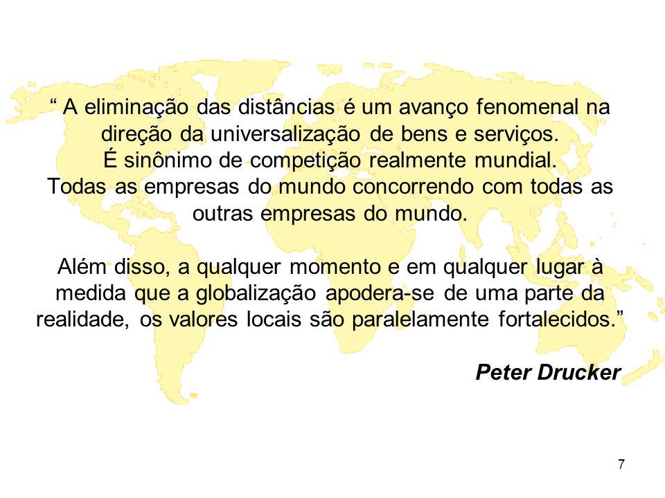 A eliminação das distâncias é um avanço fenomenal na direção da universalização de bens e serviços.