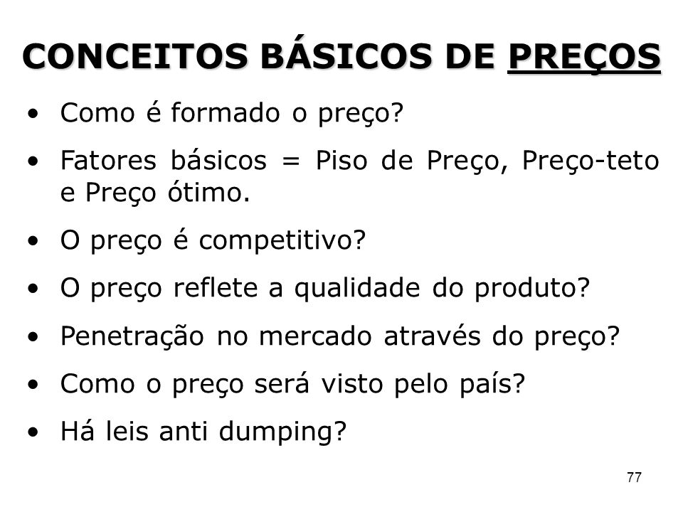 CONCEITOS BÁSICOS DE PREÇOS