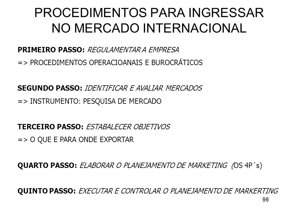 PROCEDIMENTOS PARA INGRESSAR NO MERCADO INTERNACIONAL