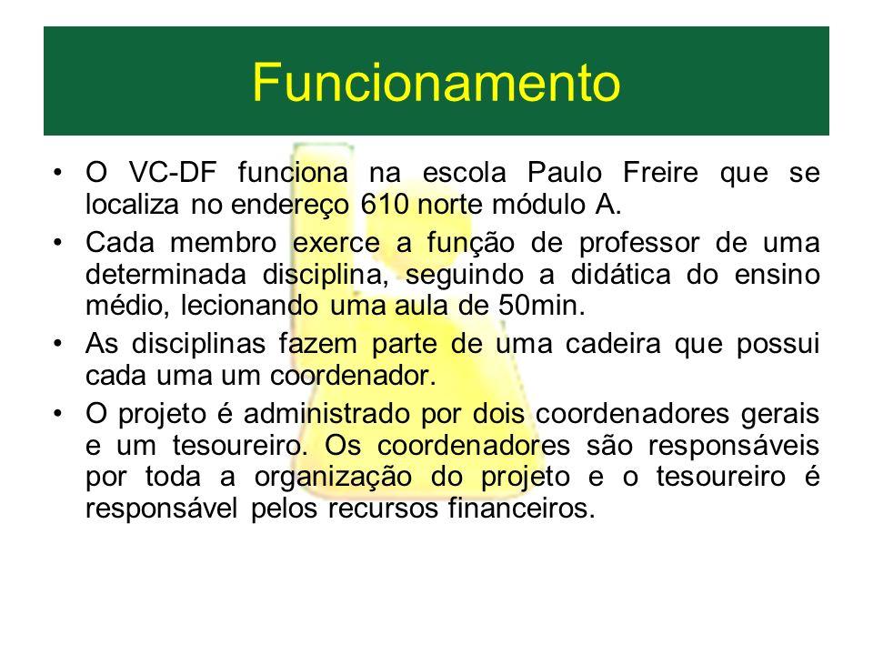 FuncionamentoO VC-DF funciona na escola Paulo Freire que se localiza no endereço 610 norte módulo A.
