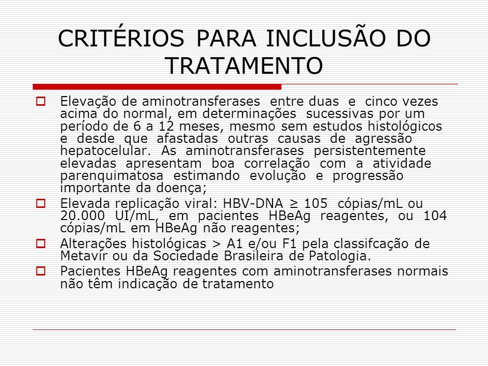 CRITÉRIOS PARA INCLUSÃO DO TRATAMENTO