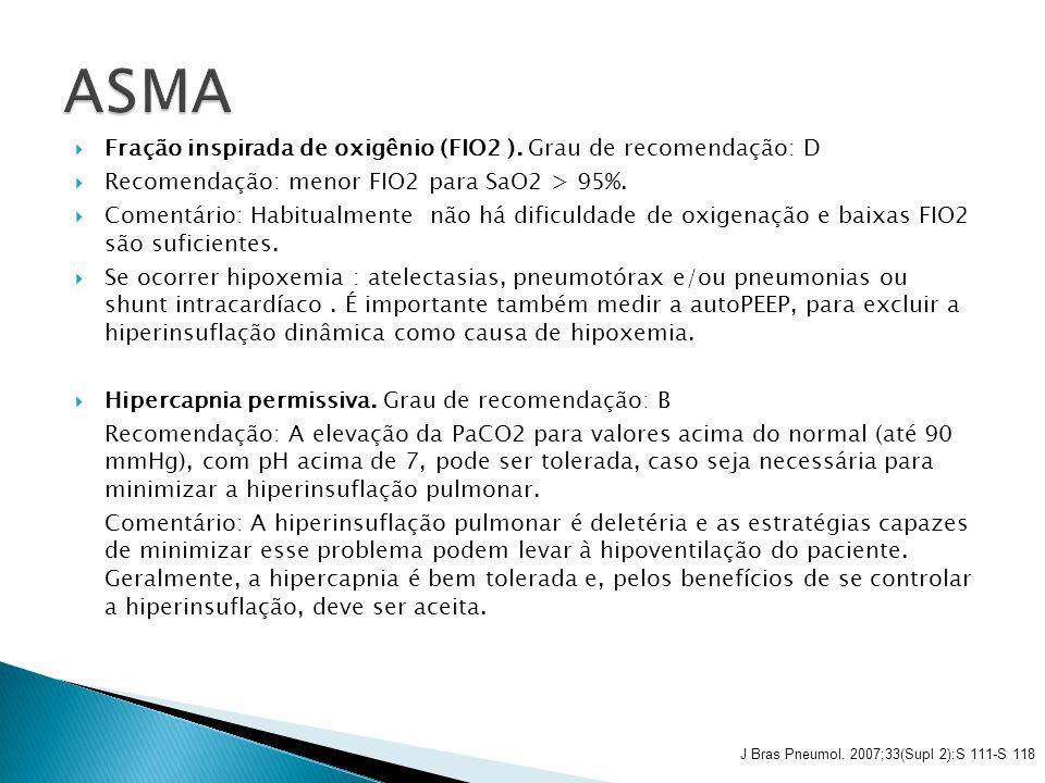 ASMA Fração inspirada de oxigênio (FIO2 ). Grau de recomendação: D