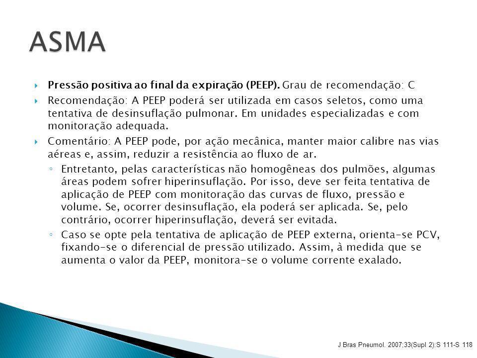 ASMA Pressão positiva ao final da expiração (PEEP). Grau de recomendação: C.