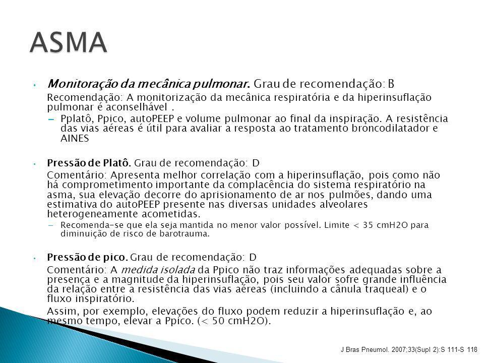 ASMA Monitoração da mecânica pulmonar. Grau de recomendação: B