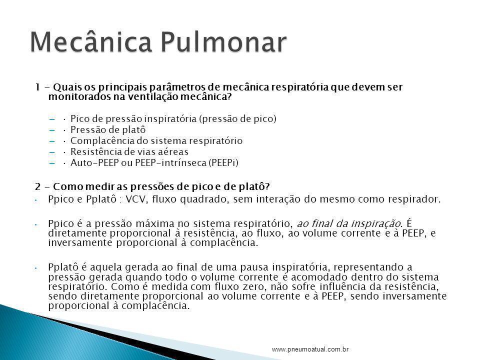 Mecânica Pulmonar 1 - Quais os principais parâmetros de mecânica respiratória que devem ser monitorados na ventilação mecânica