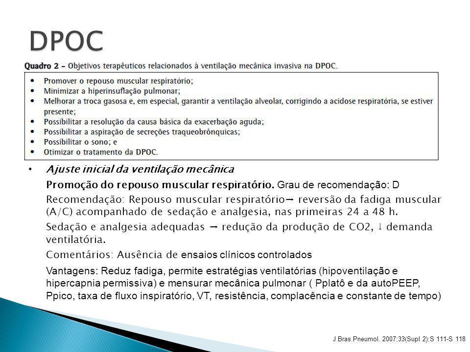 DPOC Ajuste inicial da ventilação mecânica