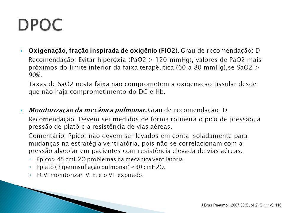 DPOC Oxigenação, fração inspirada de oxigênio (FIO2). Grau de recomendação: D.