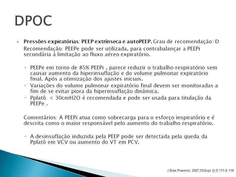 DPOC Pressões expiratórias: PEEP extrínseca e autoPEEP. Grau de recomendação: D.