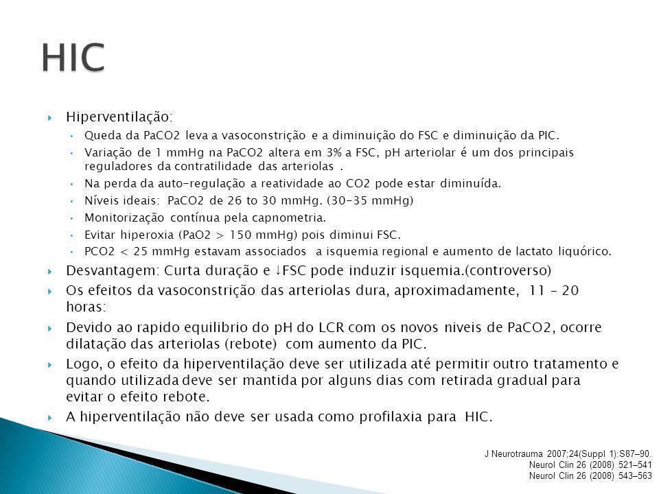 HIC Hiperventilação: Queda da PaCO2 leva a vasoconstrição e a diminuição do FSC e diminuição da PIC.