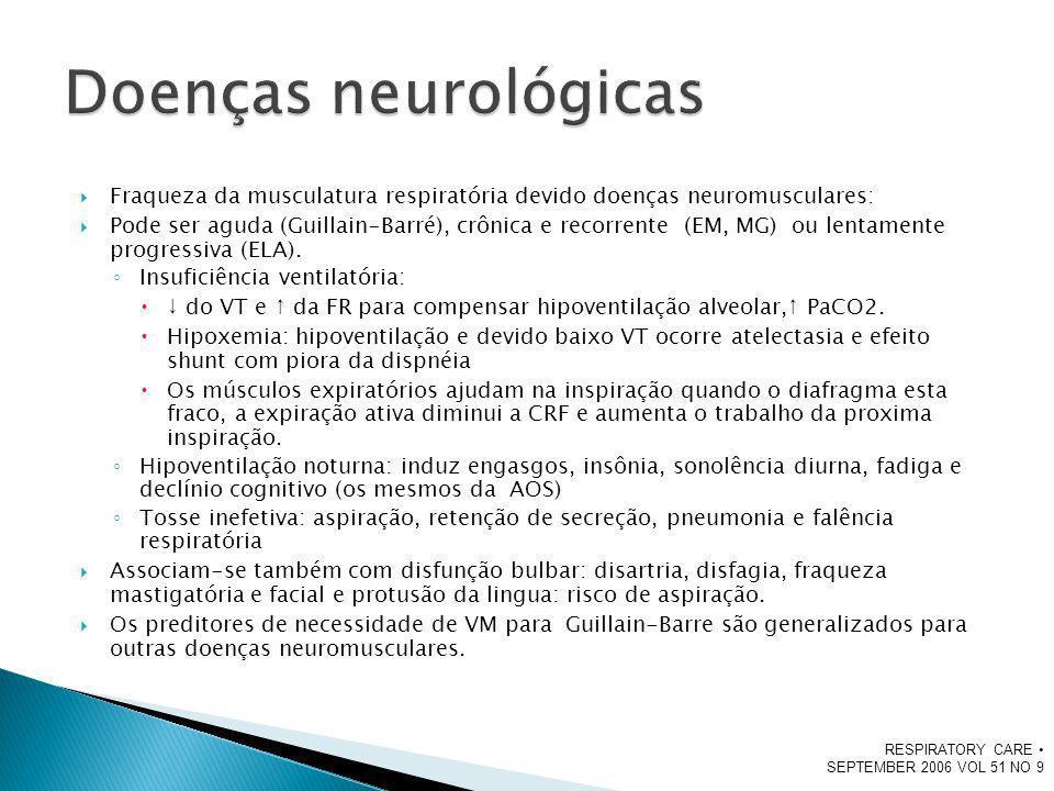 Doenças neurológicas Fraqueza da musculatura respiratória devido doenças neuromusculares: