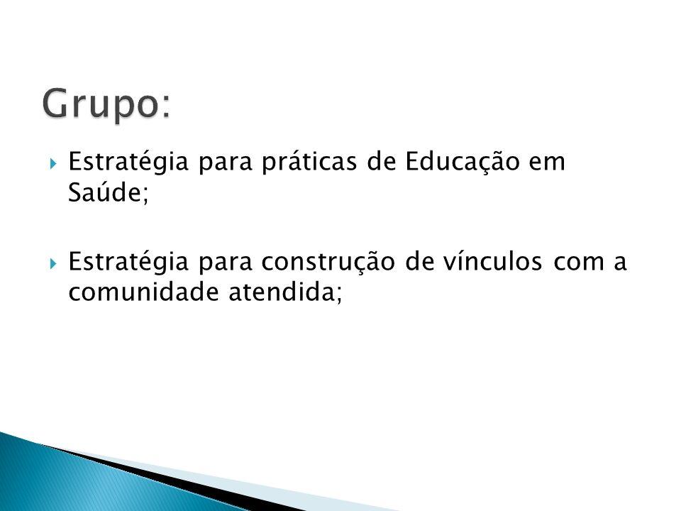 Grupo: Estratégia para práticas de Educação em Saúde;