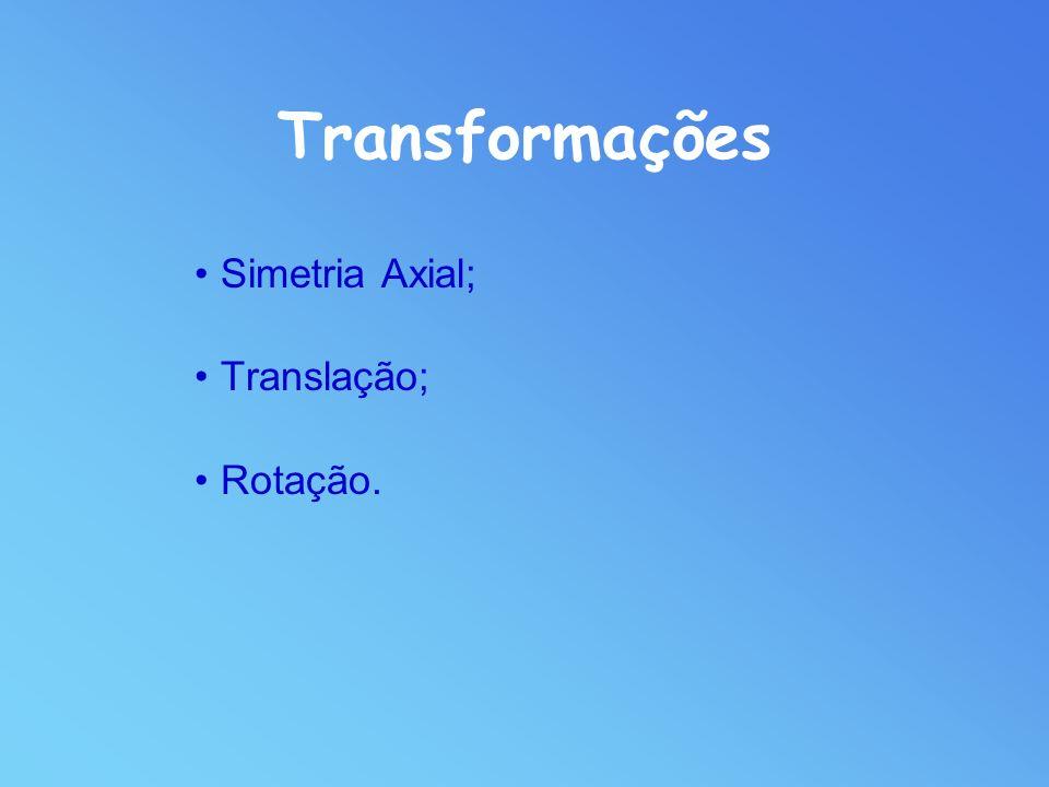 Transformações Simetria Axial; Translação; Rotação.