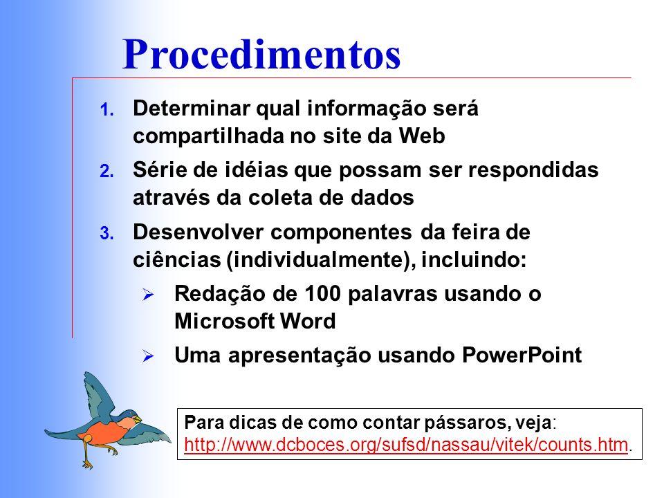 Procedimentos Determinar qual informação será compartilhada no site da Web. Série de idéias que possam ser respondidas através da coleta de dados.