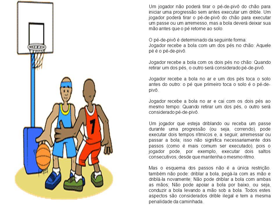 Um jogador não poderá tirar o pé-de-pivô do chão para iniciar uma progressão sem antes executar um drible. Um jogador poderá tirar o pé-de-pivô do chão para executar um passe ou um arremesso, mas a bola deverá deixar sua mão antes que o pé retorne ao solo.