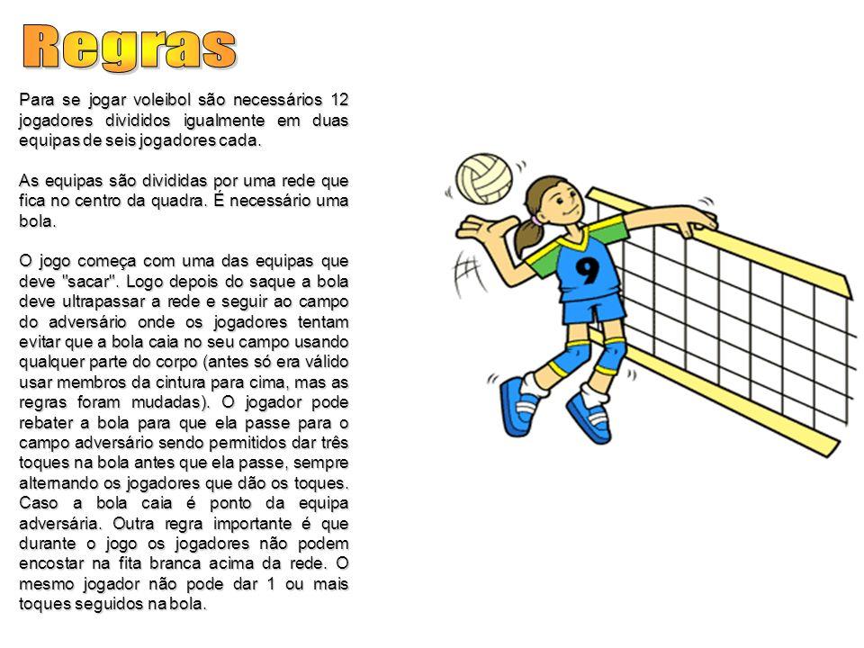 RegrasPara se jogar voleibol são necessários 12 jogadores divididos igualmente em duas equipas de seis jogadores cada.