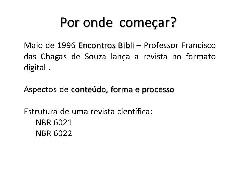 Por onde começar Maio de 1996 Encontros Bibli – Professor Francisco das Chagas de Souza lança a revista no formato digital .