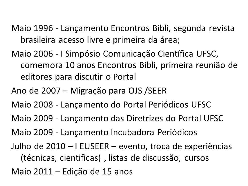 Maio 1996 - Lançamento Encontros Bibli, segunda revista brasileira acesso livre e primeira da área;