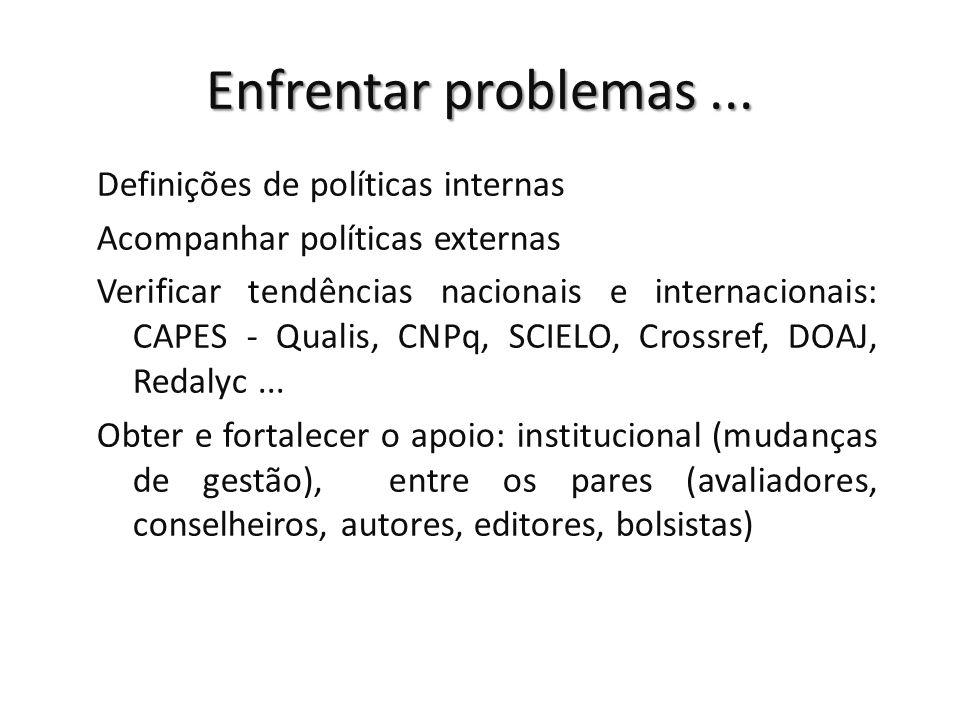 Enfrentar problemas ... Definições de políticas internas