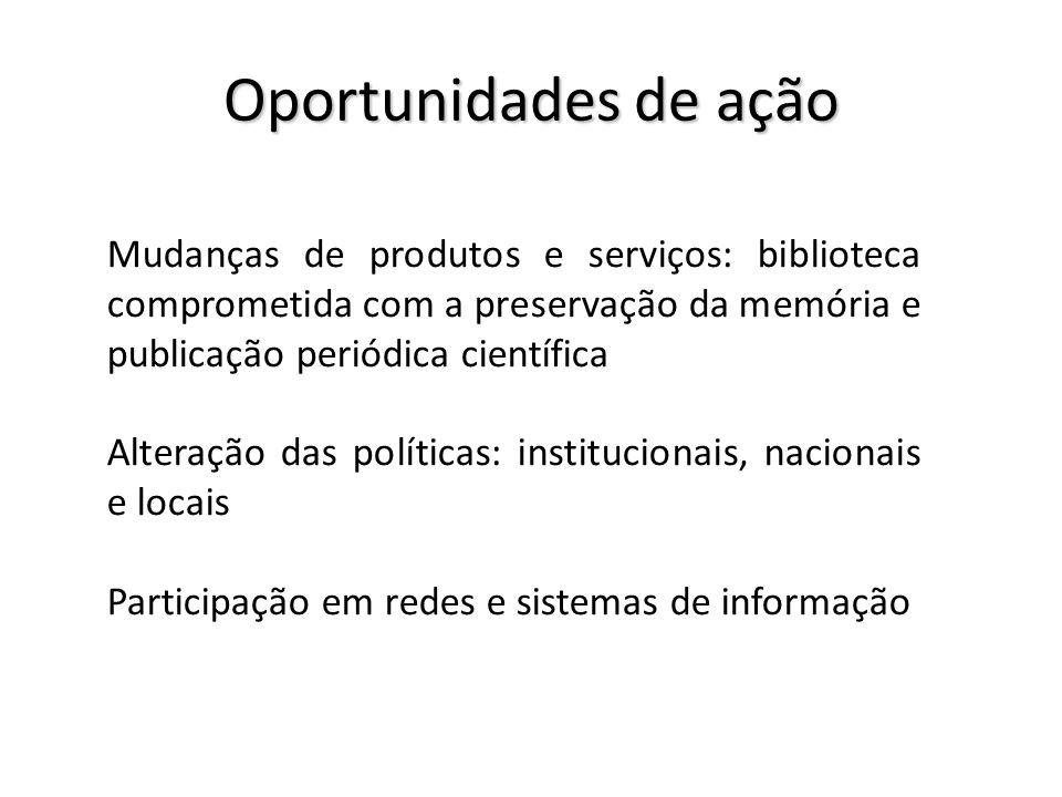 Oportunidades de ação Mudanças de produtos e serviços: biblioteca comprometida com a preservação da memória e publicação periódica científica.