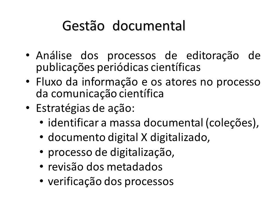 Gestão documental Análise dos processos de editoração de publicações periódicas científicas.
