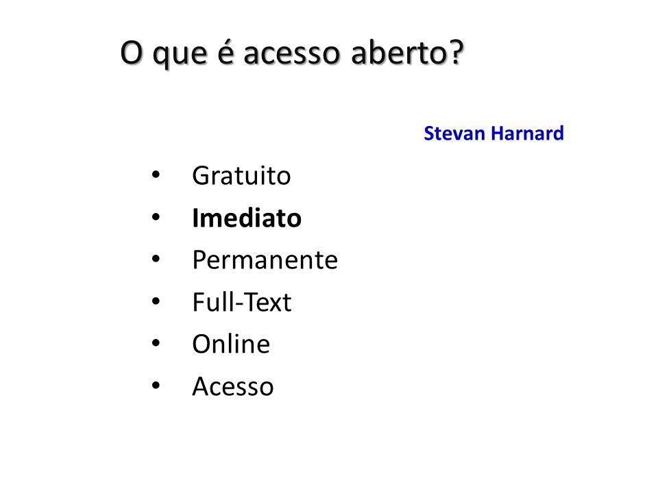 O que é acesso aberto Gratuito Imediato Permanente Full-Text Online