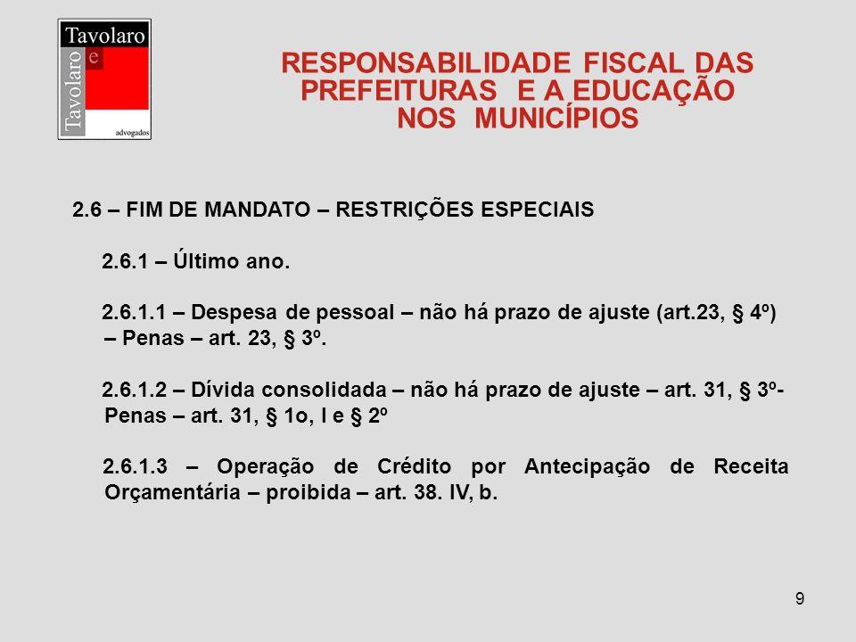 RESPONSABILIDADE FISCAL DAS PREFEITURAS E A EDUCAÇÃO NOS MUNICÍPIOS