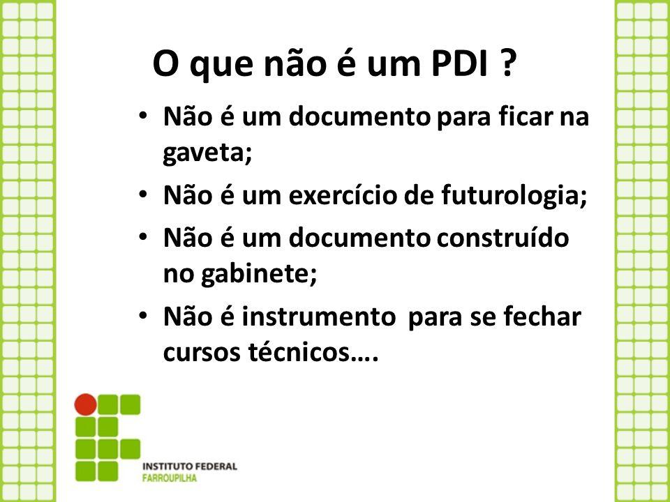 O que não é um PDI Não é um documento para ficar na gaveta;