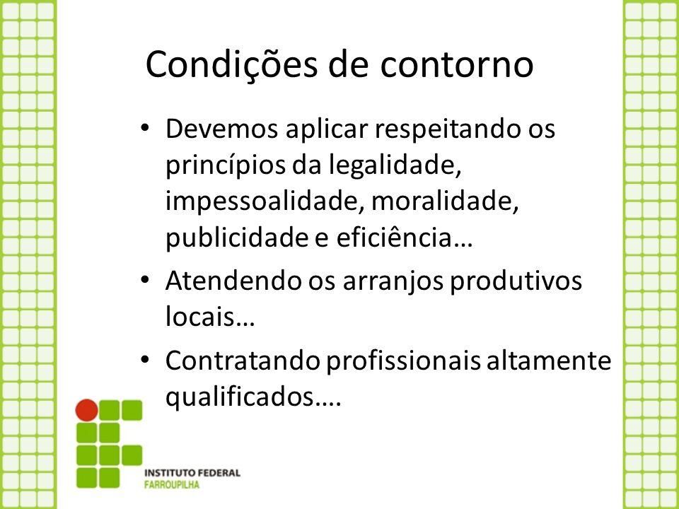 Condições de contorno Devemos aplicar respeitando os princípios da legalidade, impessoalidade, moralidade, publicidade e eficiência…